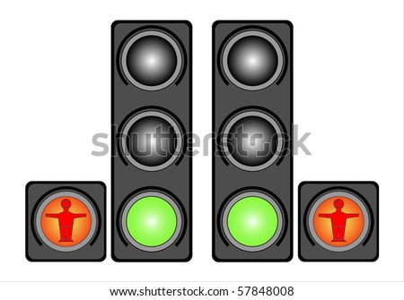 Traffic light for people. Isolated on white background. - stock vector