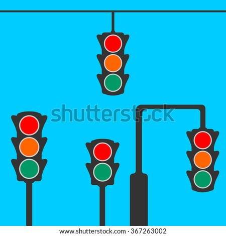 Traffic light icon, set isolated on blue background/ Eps10. Vector illustration.