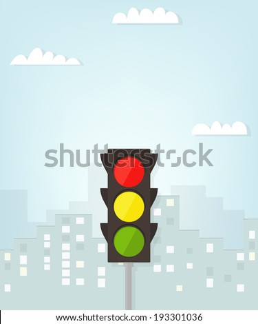 traffic light in the city - stock vector