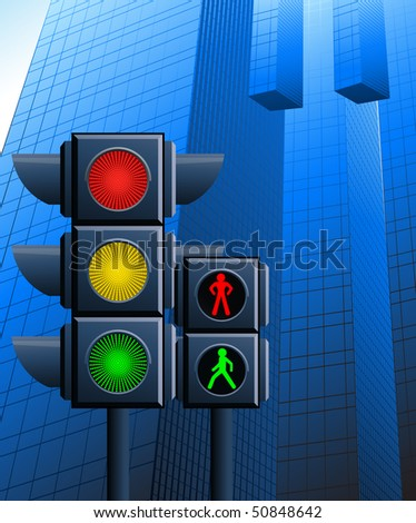 Traffic light in the city, vector illustration - stock vector