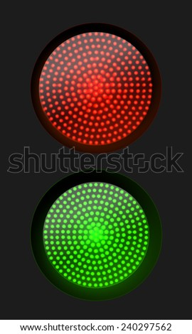 Traffic light red and green , vector illustration - stock vector