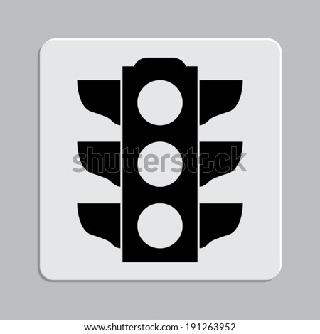 Traffic light signal - Vector icon on a grey flat button - stock vector