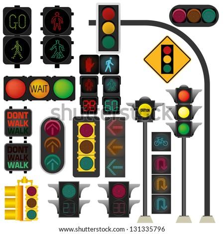 Traffic light vector - stock vector