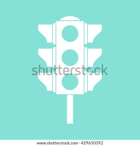 Traffic light    vector icon. White  Illustration isolated on green  background for graphic and web design.
