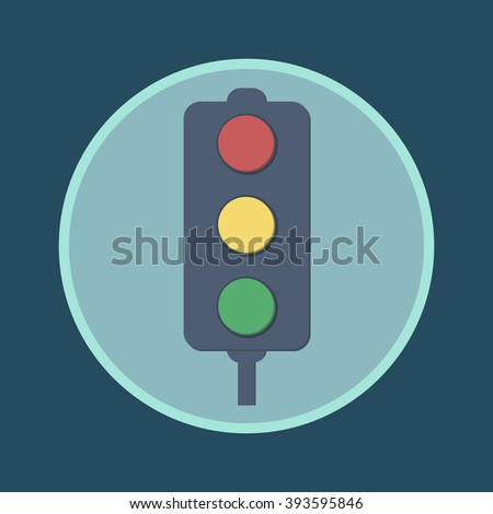 Traffic lights flat icon. Vector illustration of stop color lights icon, flat round icon. Abstract road sign - vector illustration. - stock vector