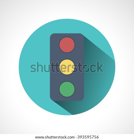 Traffic lights flat icon with long shadow. Vector illustration of stop color lights icon, flat round icon. Road sign over white background - vector illustration. - stock vector