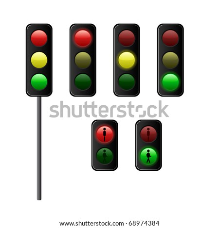 traffic lights for vehicles and pedestrians vector illustration - stock vector