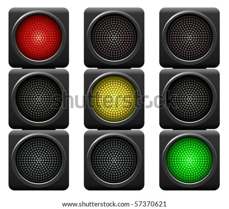 Traffic lights isolated on white background. - stock vector