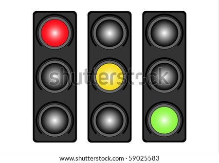 Traffic lights isolated on white background. Variants. - stock vector