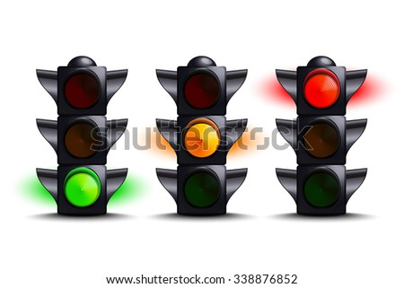 Traffic lights on green, yellow, red - stock vector