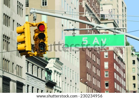 traffic lights on the fifth avenue in New York - vector image - stock vector