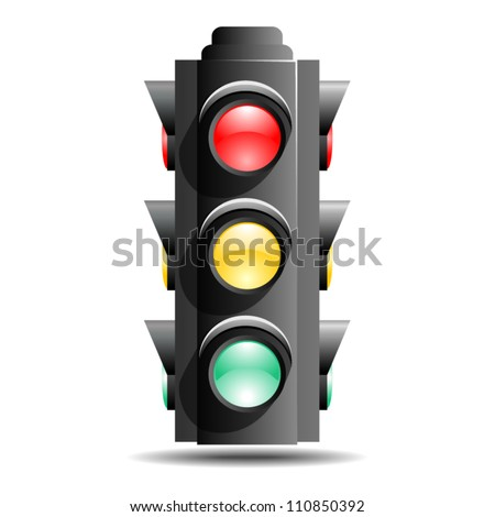 Traffic lights or stop lights (Road Signal) with red, yellow and green lights isolated on white background. (EPS 10) - stock vector