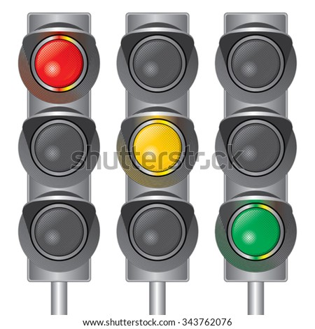 Traffic lights. Red, yellow, green. - stock vector