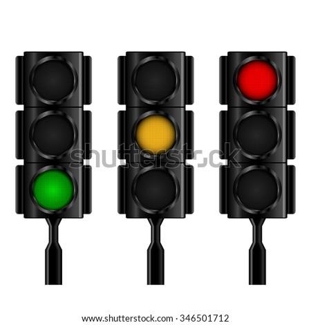 Traffic lights with selective lightning . Vector illustration. eps10. - stock vector