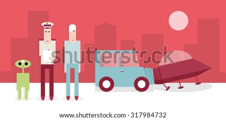 Traffic police are investigating the accident car and ufo, vector cartoon illustration