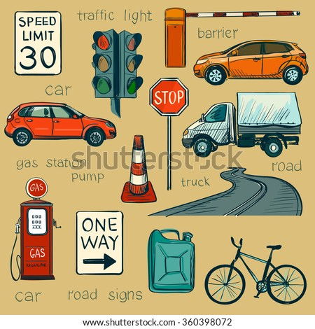 Traffic Policeman With Different Useful Tools - stock vector
