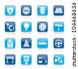Traffic, road and travel icons - vector icon set - stock vector