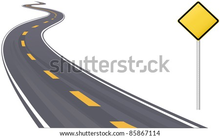 Traffic sign as information copy space on curving highway to the horizon - stock vector