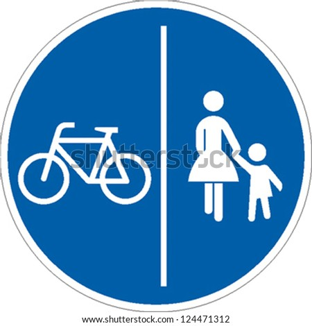traffic sign bicycle pedestrian area