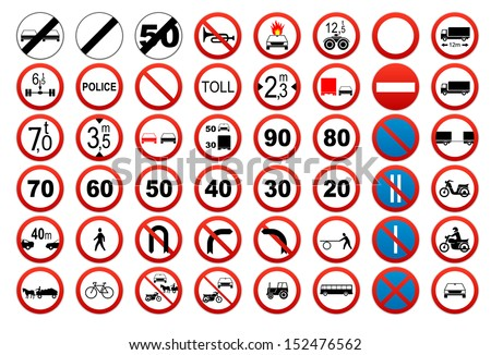 Traffic sign collection: Prohibit and restrict - stock vector