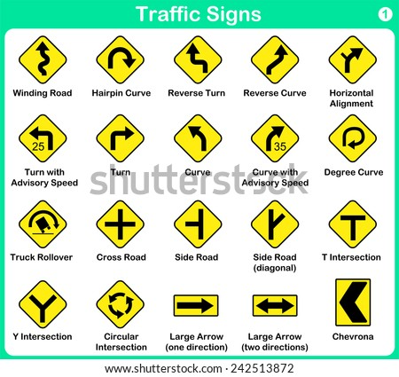 Traffic sign collection - warning road signs  - stock vector