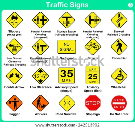 Traffic sign collection - warning road signs