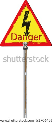 Traffic sign dangerously electric current - stock vector