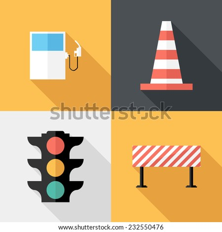 Traffic sign icons. Flat design style modern vector illustration. Isolated on stylish color background. Flat long shadow icon. Elements in flat design.