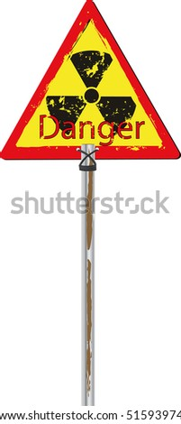 Traffic sign radioactive danger - stock vector