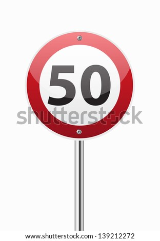 Traffic sign speed limit fifty on white - stock vector