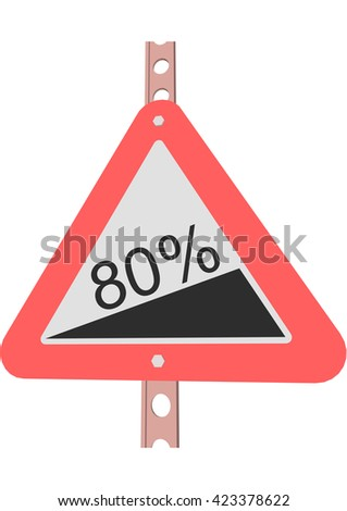 Traffic Sign Steep incline 80% - stock vector