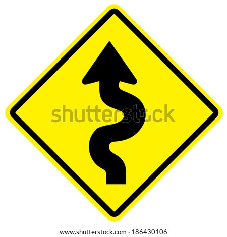 Traffic sign vector with winding road  - stock vector