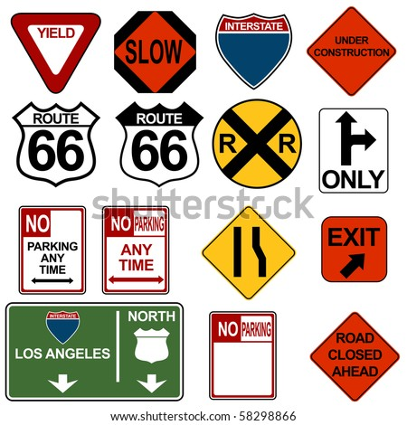 Traffic Signage Set - stock vector