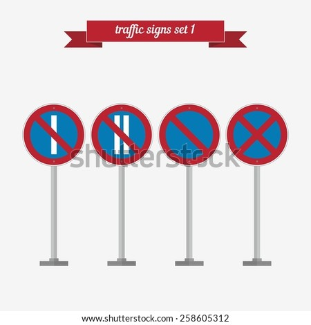 Traffic signs set 1. Flat style design - vector - stock vector
