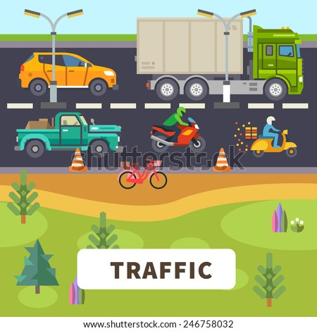 Traffic: truck, car, motorcycle, moped, bike ride down the road. Vector flat illustration - stock vector