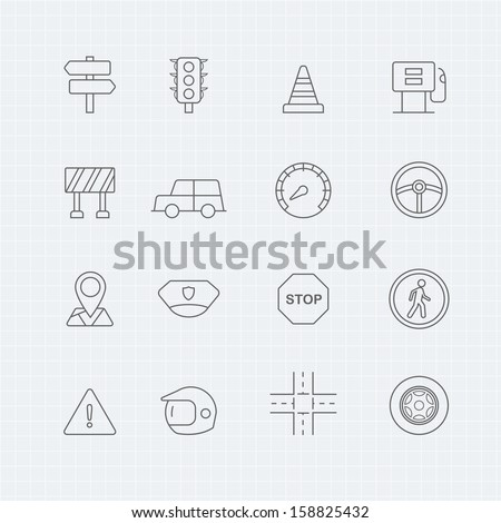 traffic vector thin line symbol icon  - stock vector