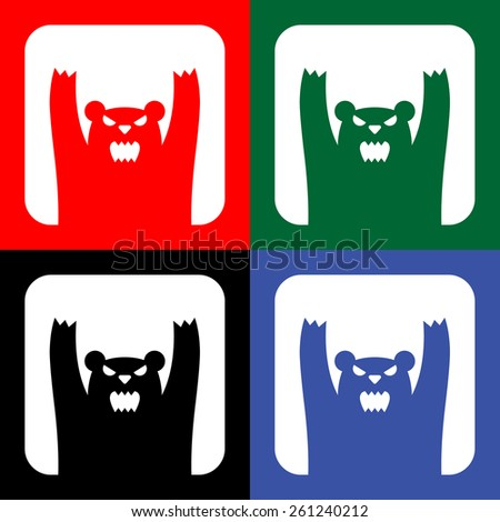 Traffic wild bears icon or sign, EPS10 - stock vector