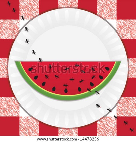 Trail of black ants taking bites out of a sweet, juicy slice of watermelon at a picnic - stock vector