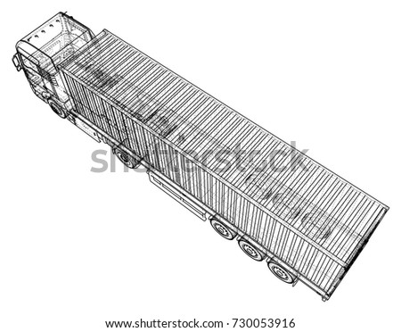 Trailer truck. Abstract drawing. Tracing illustration of 3d