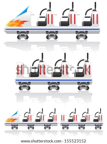 trailers for roller coasters vector illustration isolated on background - stock vector