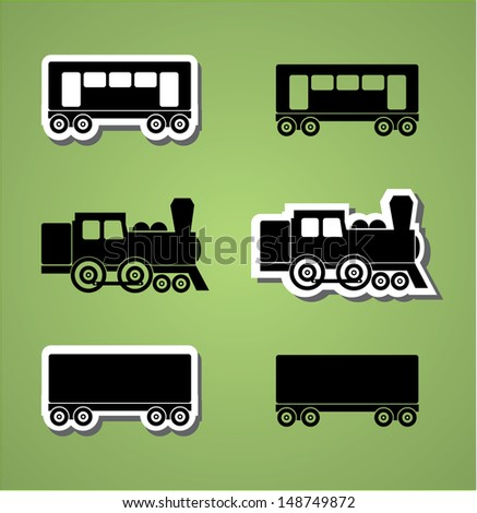 Train and wagon silhouets, black and white, vector illustration - stock vector