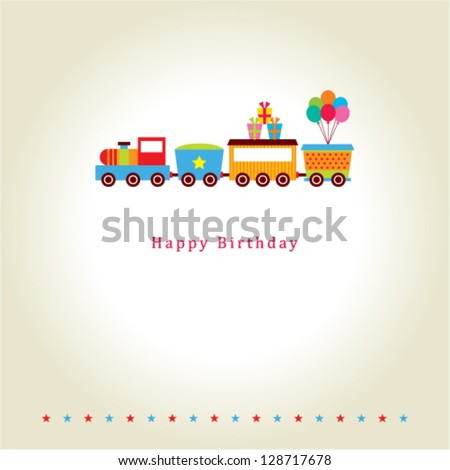 Train birthday card stock vector 128717678 shutterstock train birthday card bookmarktalkfo Image collections