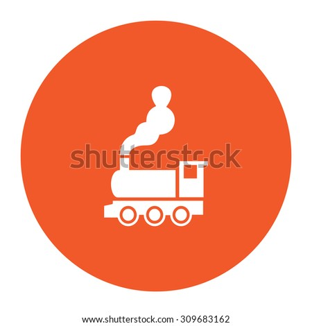 Train - classic locomotive. Flat white symbol in the orange circle. Vector illustration icon - stock vector