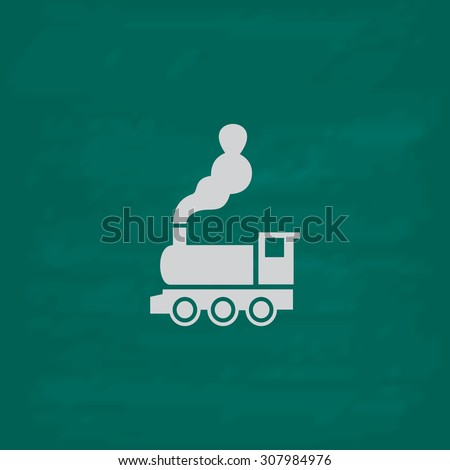 Train - classic locomotive. Icon. Imitation draw with white chalk on green chalkboard. Flat Pictogram and School board background. Vector illustration symbol - stock vector