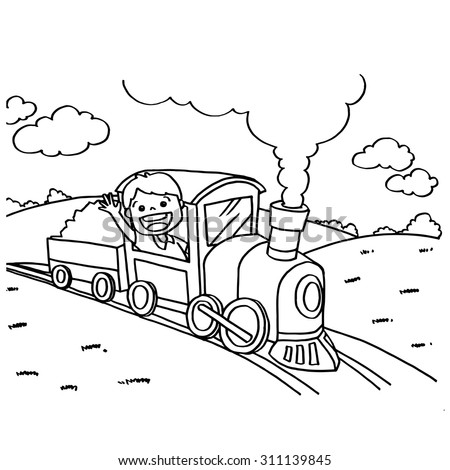train coloring pages vector - Train Coloring Pages