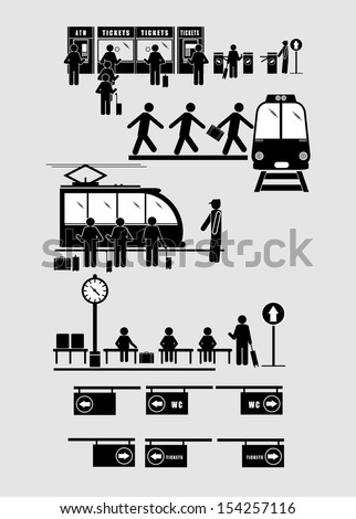 Train Commuter Station Subway Man People - stock vector
