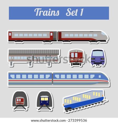 Train icon set. Subway, monorail, funicular transport. Vector illustration - stock vector