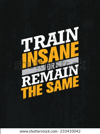 Train Insane Or Remain The Same. Workout And Fitness Motivation Quote.  Creative Vector Typography