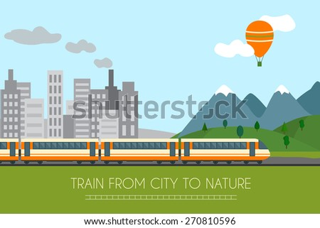 Train on railway with forest and mountains background. Flat style vector illustration. - stock vector