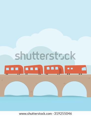 Train on the railroad across the bridge - stock vector